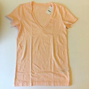 JCREW MERCANTILE Pink Peach Slub V Neck Tshirt NWT